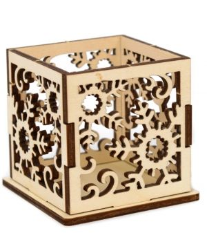 Wooden Christmas candle holder - Snowflakes IDEA1771