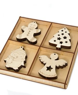 Wooden Christmas figurines, set 16pcs - IDEA1780