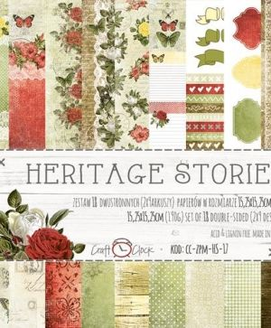"Double-sided Paper 6""x6"", 18 sheets - Heritage Stories CC-ZPM-HS-17"