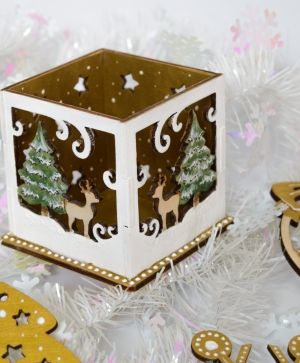 Wooden Christmas candle holder - Winter landscape IDEA1772