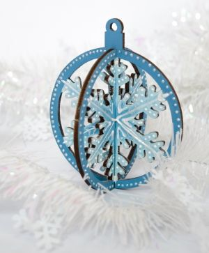Wooden Christmas figurine - 3D snowflake IDEA1766