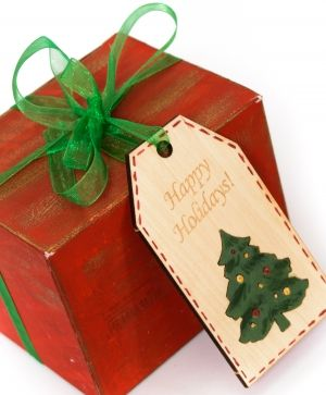Wooden Christmas figurine - Tag Happy Holidays IDEA1765