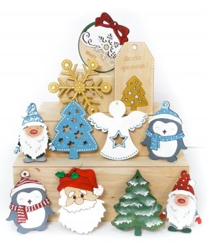 Wooden Christmas figurine - Tag Happy holidays IDEA1764
