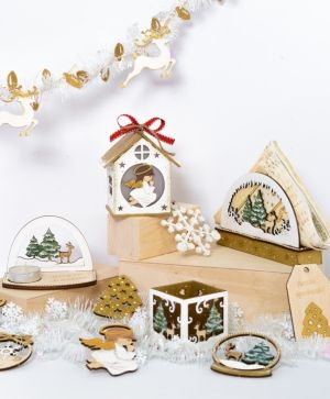 Wooden Christmas figurine - Snow globe IDEA1762