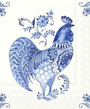 Decoupage napkins 33x33cm, 20 pcs. - DECORATIVE ROOSTER L809294