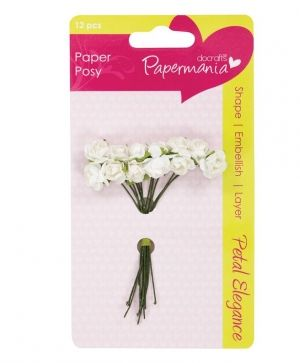Docrafts Paper Blossoms (12pcs) White Rose PMA-368304