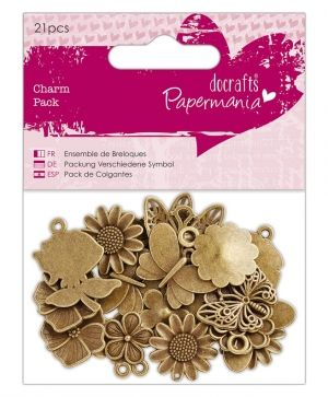 Docrafts Set of embellishments (21pcs) - Papermania - Flowers & Butterflies PMA-356014