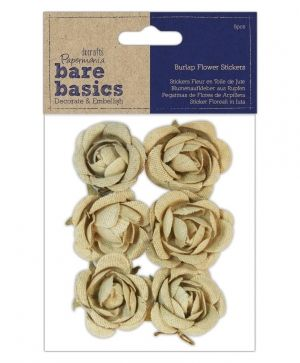 Burlap flowers - self - adhesive (6pcs) Rose PMA-174857
