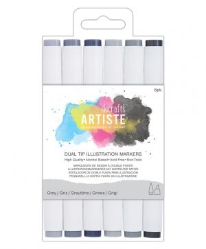 Dual tip illustration markers - Chisel/Brush (6pcs) - Greys DOA-851400