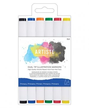 Dual tip illustration markers - Chisel/Brush (6pcs) - Primary DOA-851402