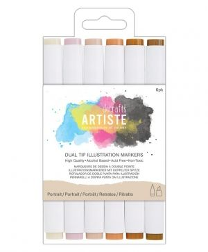 Dual tip illustration markers - Chisel/Brush (6pcs) - Portrait DOA-851401