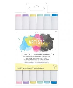 Dual tip illustration markers - Chisel/Brush (6pcs) - Pastel DOA-851403