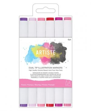 Dual tip illustration markers - Chisel/Brush (6pcs) - Florals DOA-851405