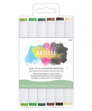 Dual tip illustration markers - Chisel/Brush (6pcs) - Natural DOA-851404