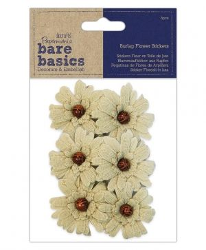 Burlap flowers - self - adhesive (6pcs) Bead PMA-174859
