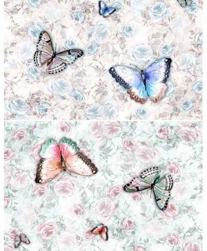 Decoupage Rice Paper A4 - butterflies and roses ITD-R1406