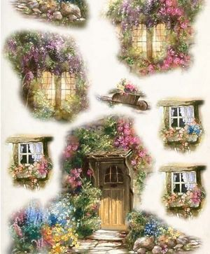Decoupage Rice Paper A4 - door, window and flowers ITD-R460