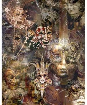 Decoupage Rice Paper A4 - Venetian masks ITD-R1532