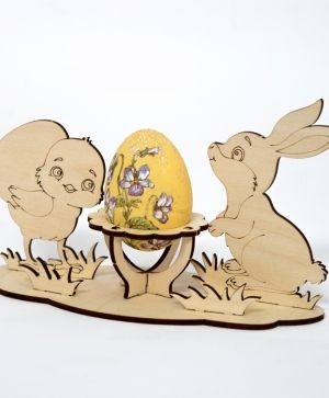 Wooden stand for egg - Rabbit and chicken IDEA1783