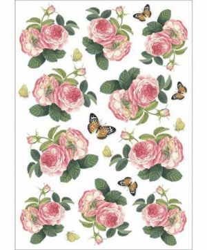 Decoupage Rice Paper A4 - Roses and butterfly DFSA4378