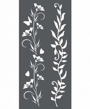 Thick stencil 12x25 cm - Borders Flowers and leaves KSTDL25