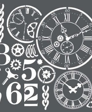 Thick stencil 18x18 cm - Watches and numbers KSTDQ20