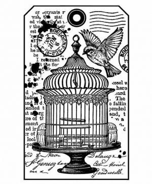 Rubber stamp 7x11xm - Little cage WTKCC146
