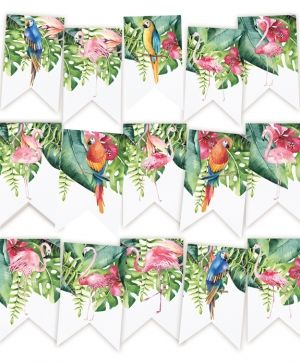 Decorative flags / banners 15pcs - Let's flamingle P13-286