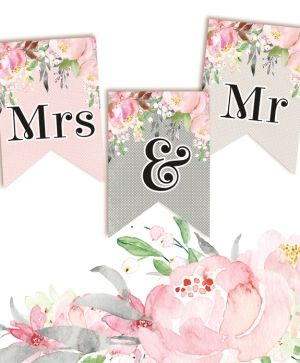 Decorative flags / banners 3 pcs - Mrs & Mr P13-264