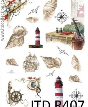 Decoupage Rice Paper A4 - shells and lighthouse ITD-R0407