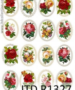 Decoupage Rice Paper A4 - flowers in frames ITD-R1327