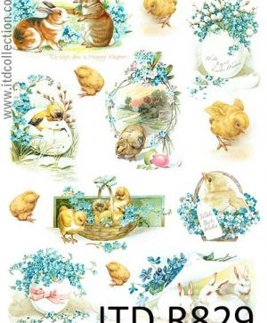 Decoupage Rice Paper A4 - Easter compositions ITD-R0829