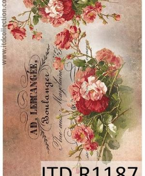 Decoupage Rice Paper A4 - vintage roses ITD-R1187