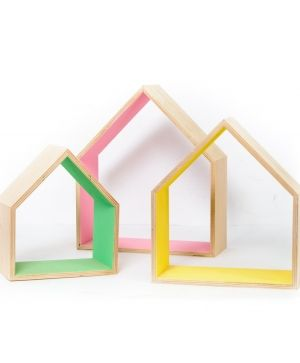Wooden shelf, set of 3pcs - house shape IDEA1735
