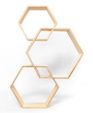 Wooden shelf, set of 3pcs - hexagon IDEA1734