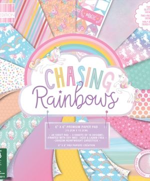 "First edition 6""x6"" Paper Pad - Chasing Rainbows FEPAD208"