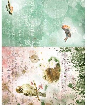 Decoupage Rice Paper A4 - Vintage collage with birds ITD-R1546