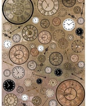 Decoupage Rice Paper A4 - Vintage clocks, Steampunk style ITD-R1110