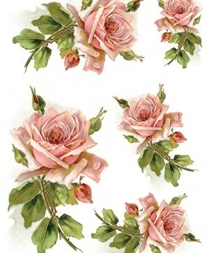 Decoupage Rice Paper A4 - Vintage flowers, pink roses ITD-R1205