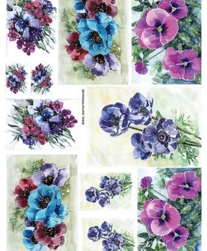 Decoupage Rice Paper A4 - Violets ITD-R1223