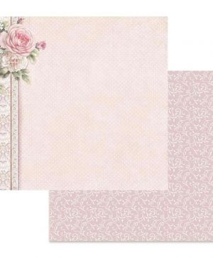 "Double face scrap paper 12""x12"" - Polka dots with pink border SBB625"