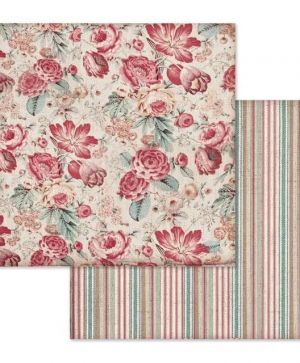 "Double face scrap paper 12""x12"" - Wallpaper with roses SBB648"