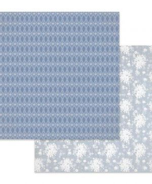 "Double face scrap paper 12""x12"" - Texture white flowers on light blue background SBB621"