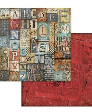 "Double face scrap paper 12""x12"" - Mechanical Fantasy alphabet SBB611"