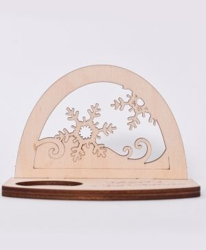 Wooden Christmas candle holder - Snowflakes IDEA1794