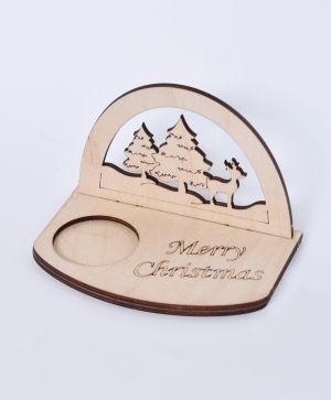 Wooden Christmas candle holder - Winter landscape IDEA1795
