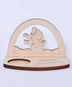 Wooden Christmas candle holder - Snowman IDEA1796