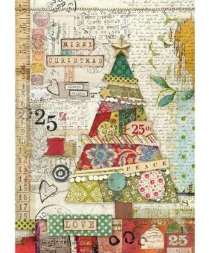 Decoupage Rice Paper A4 - Patchwork tree DFSA4406