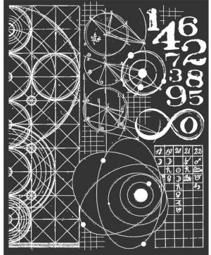 Thick stencil 20x25 cm - Cosmos astronomy and numbers KSTD042