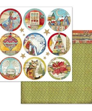 "Double face scrap paper 12""x12"" - Christmas rounds SBB637"